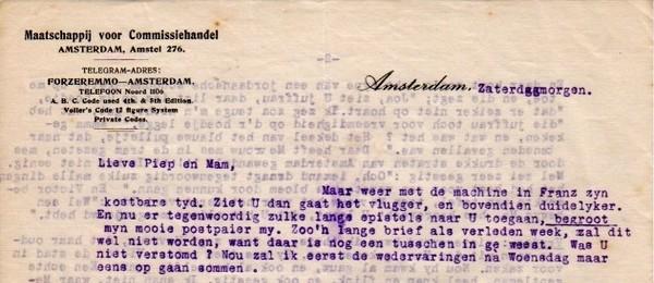 Brief van Cissy aan haar ouders (ca. 1912)
